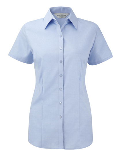 Z963F Russell Collection Herringbone Bluse Kurzarm