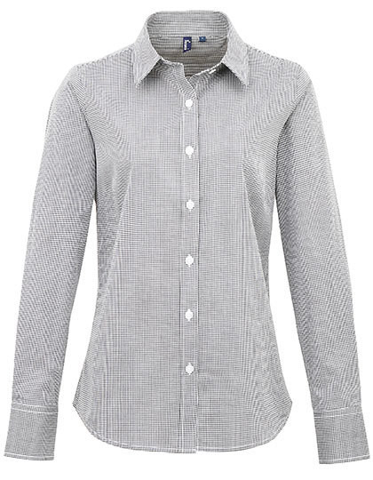 PW320 Premier Workwear Ladies Microcheck (Gingham) Long Sleeve Shirt