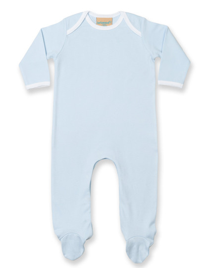 LW053 Larkwood Contrast Long Sleeved Sleepsuit