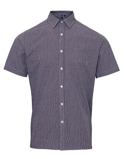 PW221 Premier Workwear Mens microcheck (Gingham) Short Sleeve Shirt Cotton