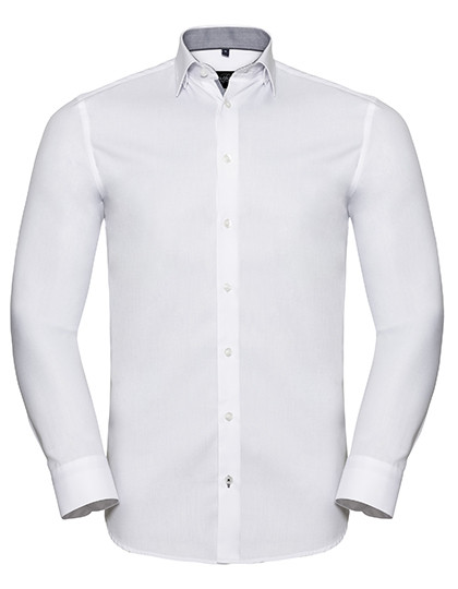 Z964 Russell Collection Men`s Long Sleeve Tailored Contrast Herringbone Shirt