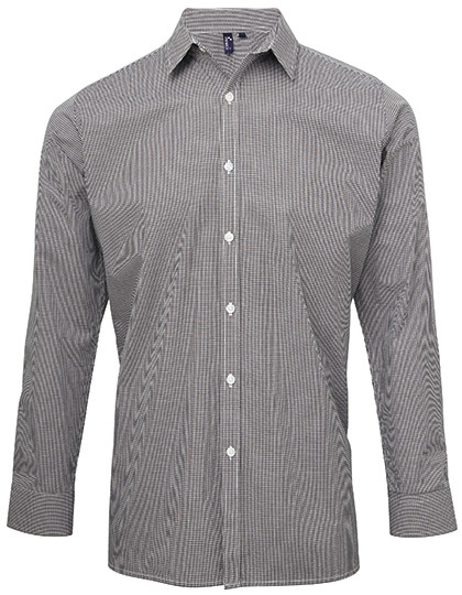 PW220 Premier Workwear Mens Microcheck (Gingham) Long Sleeve Shirt