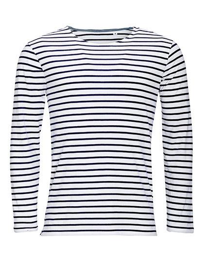 L01402 SOL´S Men's Long Sleeve Striped T-Shirt Marine