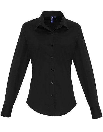 PW344 Premier Workwear Ladies Stretch Fit Cotton Poplin Long Sleeve Shirt