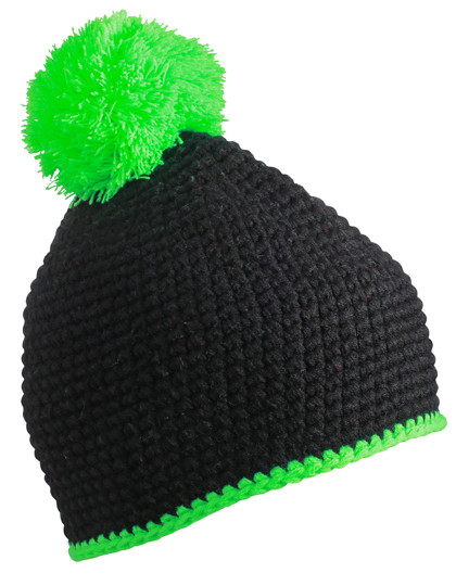 MB7964 myrtle beach Pompon Hat with Contrast Stripe