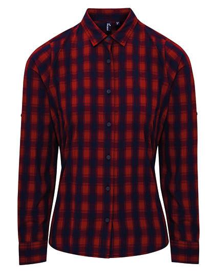 PW350 Premier Workwear Ladies` Mulligan Check Cotton Long Sleeve Shirt