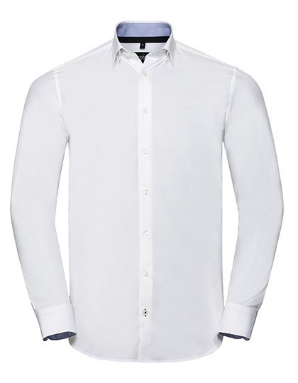 Z966 Russell Collection Men`s Long Sleeve Tailored Contrast Ultimate Stretch Shirt