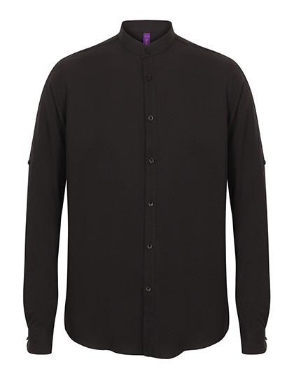 W592 Henbury Mens Mandarin Shirt Roll Tab Sleeve