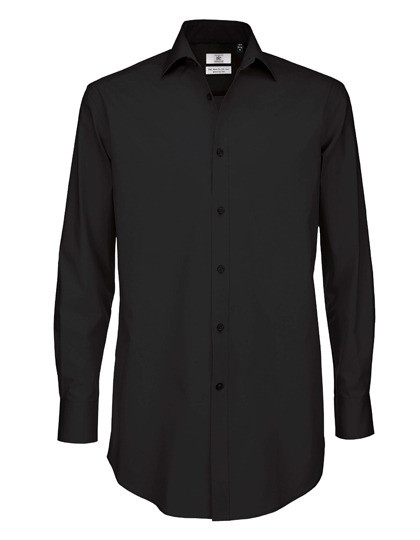 BCSMP21 B&C Poplin Shirt Black Tie Long Sleeve / Men