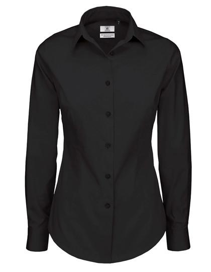 BCSWP23 B&C Poplin Shirt Black Tie Long Sleeve / Women