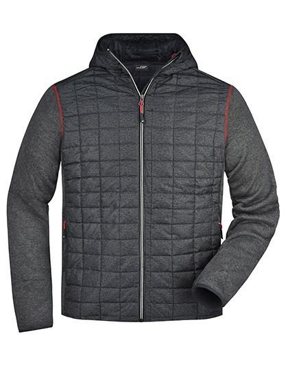 JN772 James+Nicholson Men's Knitted Hybrid Jacket