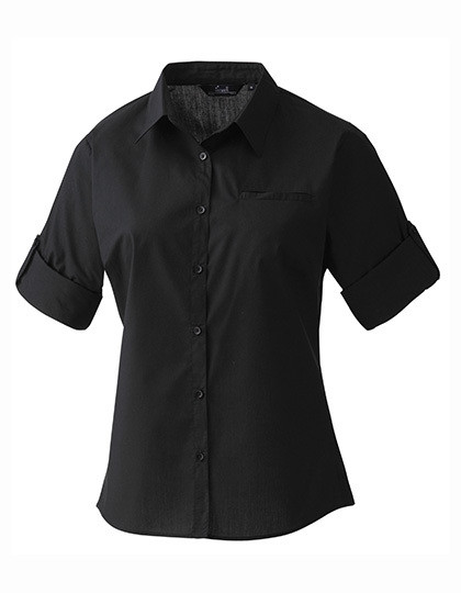 PW306 Premier Workwear Ladies ´Roll-Sleeve´ Poplin-Bluse