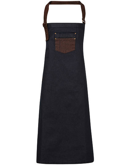 PW136 Premier Workwear Division Waxed Look Denim Bib Apron With Faux Leather