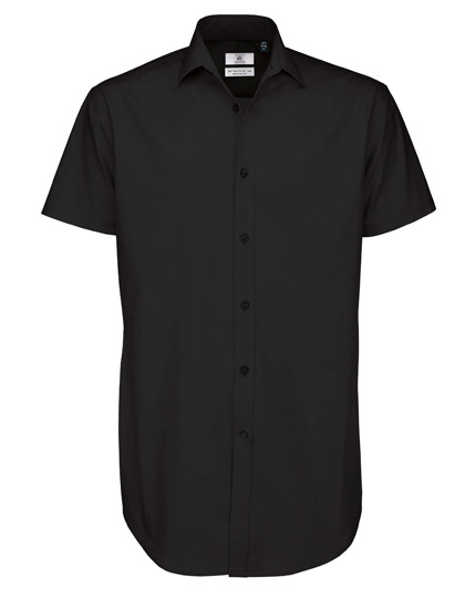 BCSMP22 B&C Poplin Shirt Black Tie Short Sleeve / Men